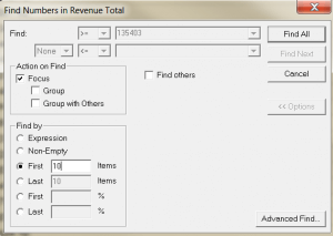 Find first 10 by  Revenue Total